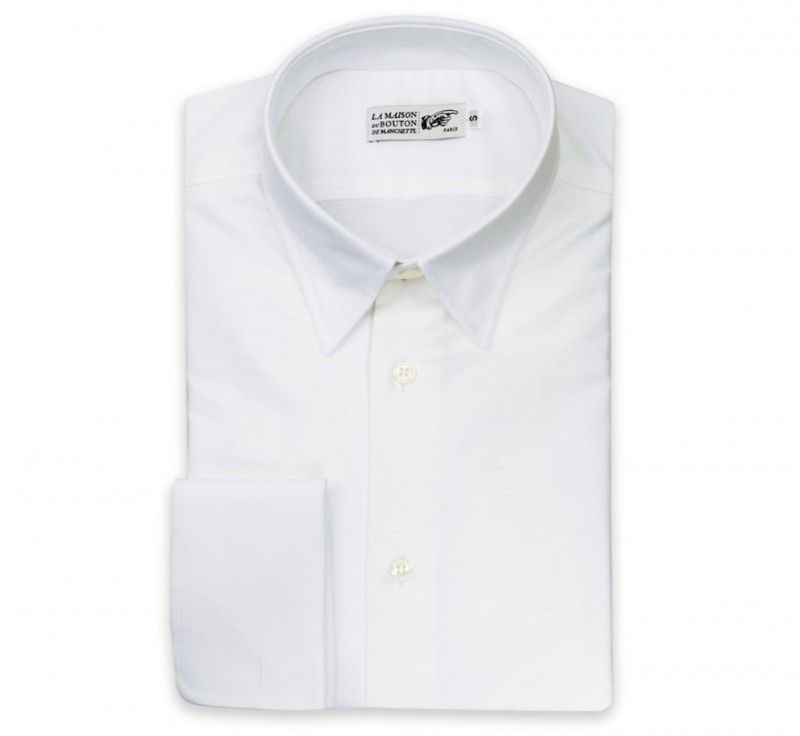 Tailored Fit White Oxford Hidden Button Down Collar Double ...