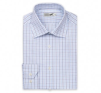 Slim Fit White Classic Collar Double Cuff Shirt with Blue Check