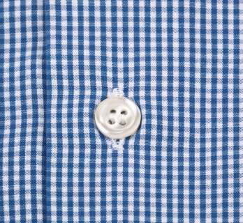 Slim Fit Blue Check Small Collar Double Cuff Shirt