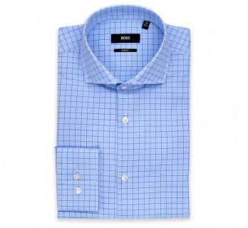 Hugo Boss Slim Fit Blue Check Cutaway Button Cuff Shirt