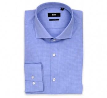 Hugo Boss Slim Fit Blue Small Check Cutaway Button Cuff Shirt