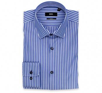Hugo Boss Slim Fit Blue White Stripe Classic Collar Button Cuff Shirt