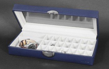 Navy casket with cufflinks racks