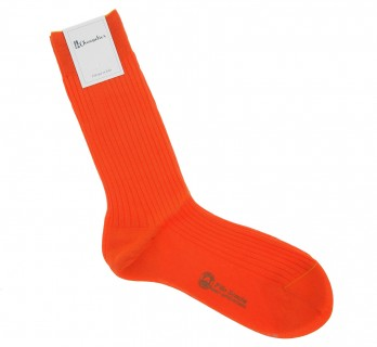 Scottish lisle thread socks in vitamin orange