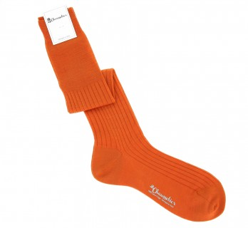 Pure merino wool knee socks in mandarin orange