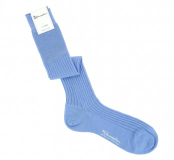 Pure merino wool knee socks in azure
