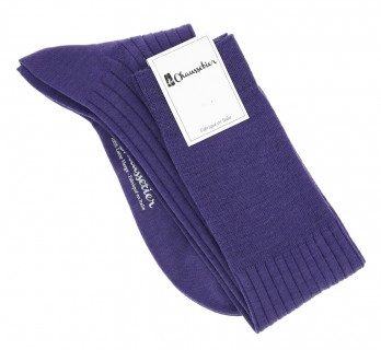 Pure merino wool knee socks in indigo violet
