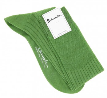 Pure merino wool knee socks in lime green