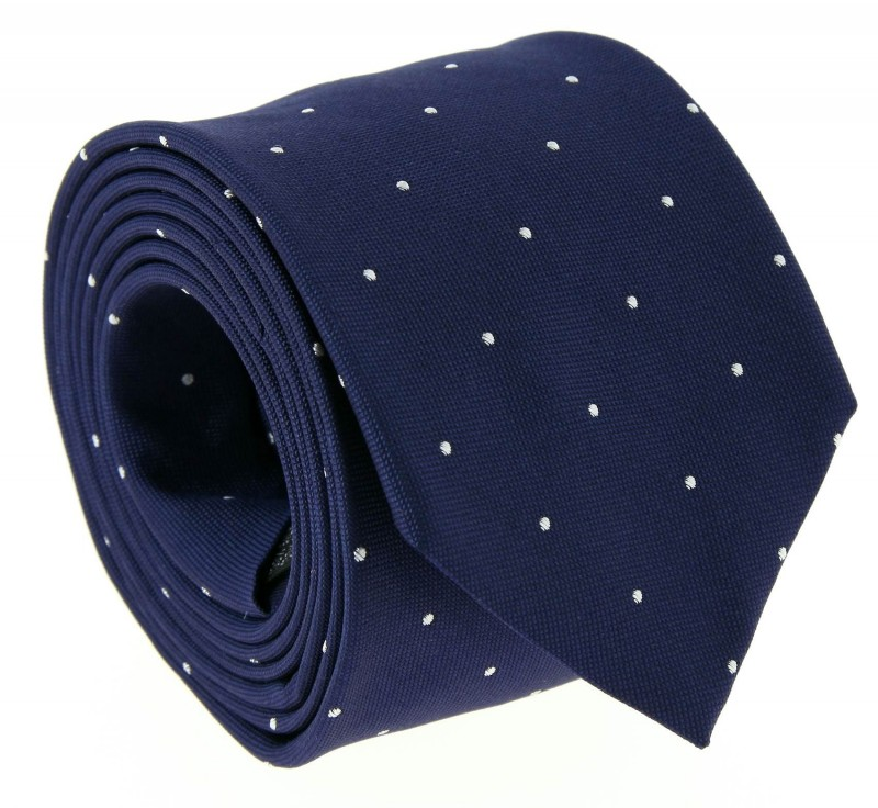 Navy Blue with White Dots The Nines Tie - Columbus II