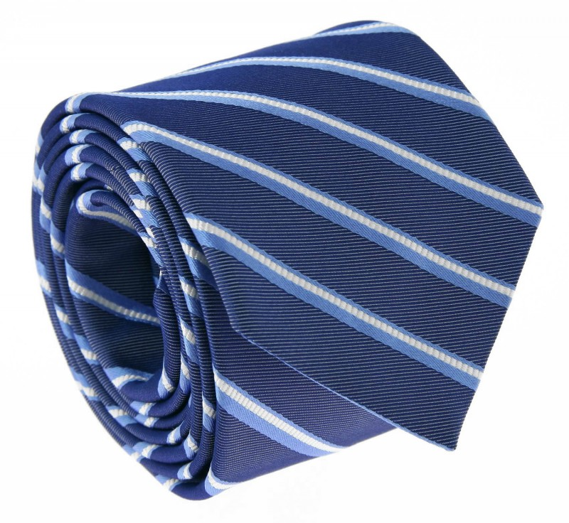 Navy Blue The Nines Tie with Light Blue and White Stripes - Devon