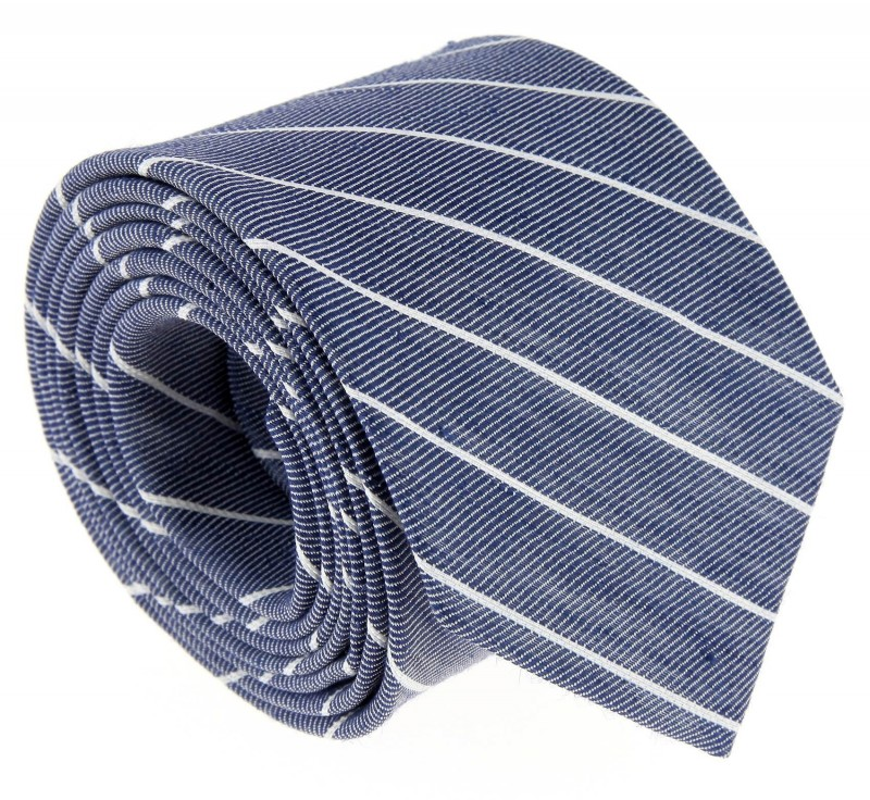Navy Blue and White Striped The Nines Tie - Tyne