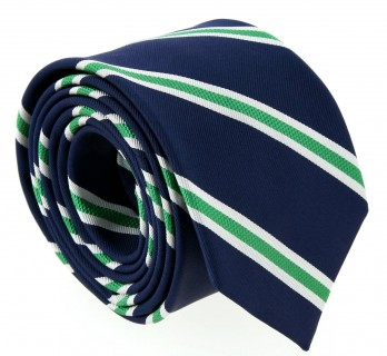 Navyblue with Green and White Stripes The Nines Tie - Boston II