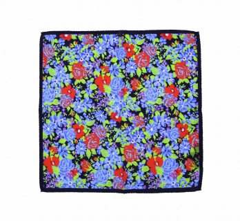Navyblue Pocket Square with Flowers Pattern - Spello