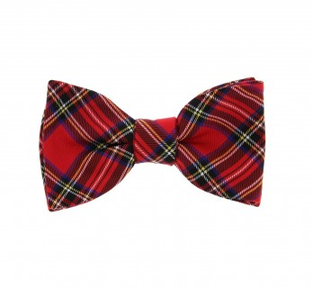 Red with Tartan Pattern The Nines Bow Tie