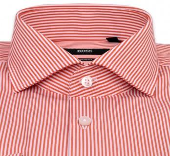 Hugo Boss Slim Fit White Orange Stripe Fully Cutaway Button Cuff Shirt