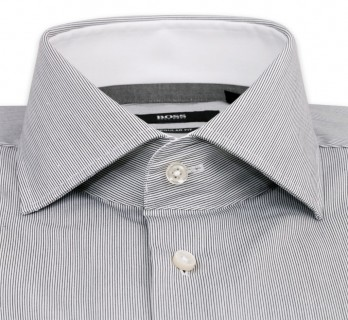 Hugo Boss White with Fine Black Stripes Cutaway Button Cuff Shirt