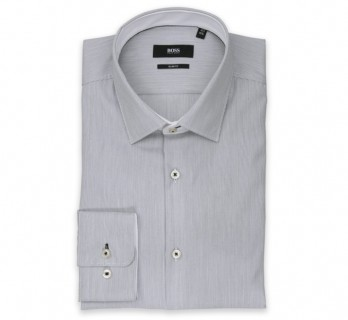 Hugo Boss Slim Fit White with Black Stripes Classic Collar Button Cuff Shirt
