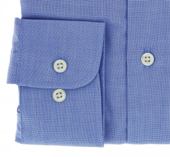 Slim Fit Blue End-On-End Small Collar Button Cuff Shirt