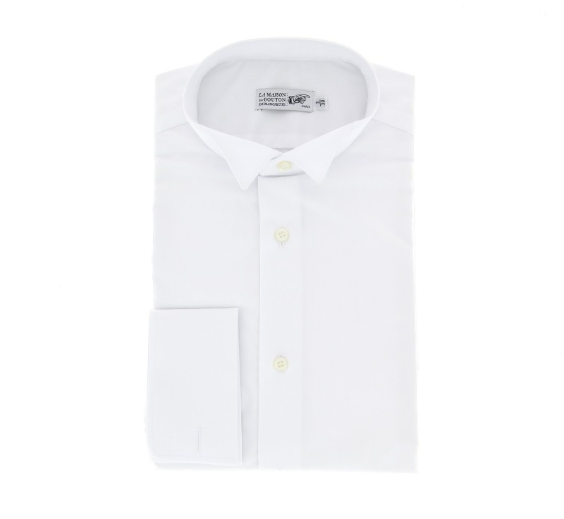 Slim Fit White Poplin Wing Collar Double Cuff Shirt for Bow Tie