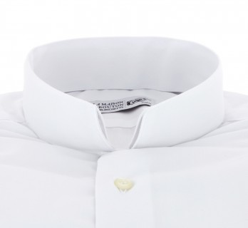 Slim Fit White Poplin Reverse Collar Double Cuff Shirt