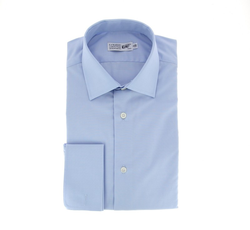 Slim Fit Blue Classic Collar Double Cuff Shirt