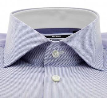 Hugo Boss White with Fine Blue Stripes Cutaway Button Cuff Shirt