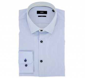 Hugo Boss Slim Fit White Light Blue Pinstripe Classic Collar Button Cuff with Black Buttons