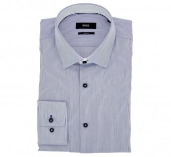 Hugo Boss Slim Fit Navy Stripe Poplin Classic Collar Button Cuff Shirt with Black Buttons