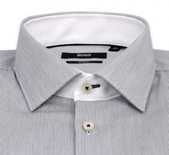 Hugo Boss Slim Fit White Black Stripe Classic Collar Button Cuff Shirt