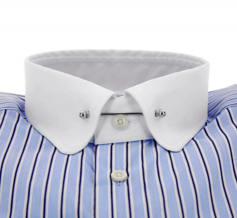 Hackett slim fit navy white stripe pin collar button cuff for White shirt with collar pin