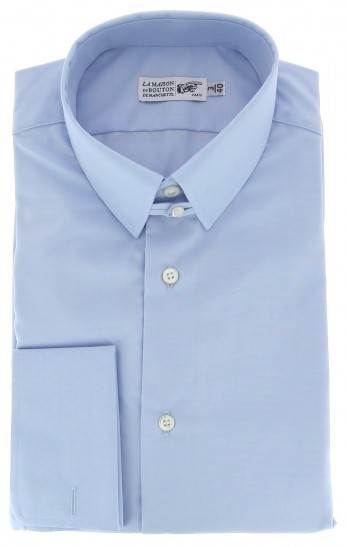 Regular Fit Light Blue Poplin Tab Collar Double Cuff Shirt