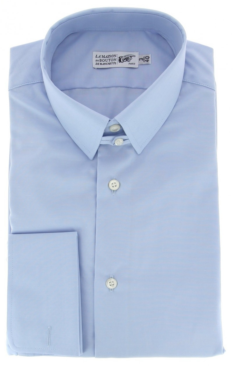 Regular Fit Light Blue Poplin Tab Collar Double Cuff Shirt ...