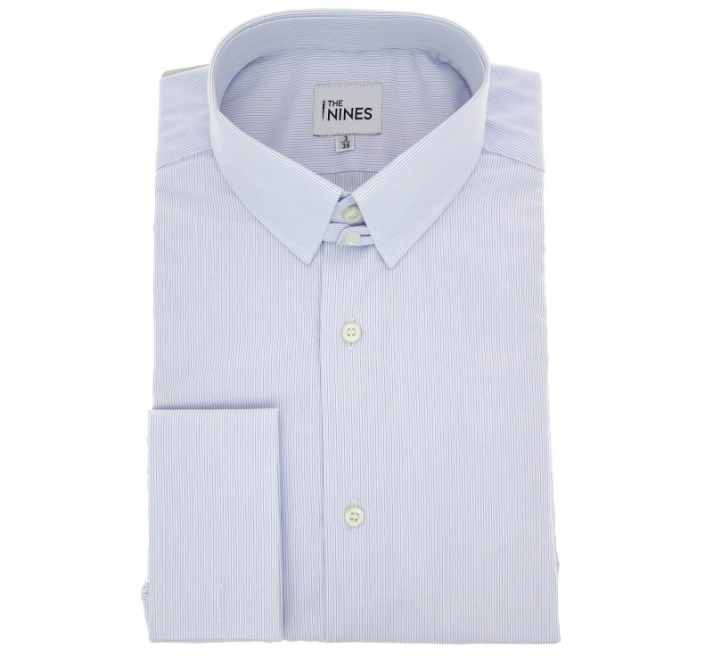 Regular Fit White Light Blue Stripe Poplin Tab Collar Double Cuff