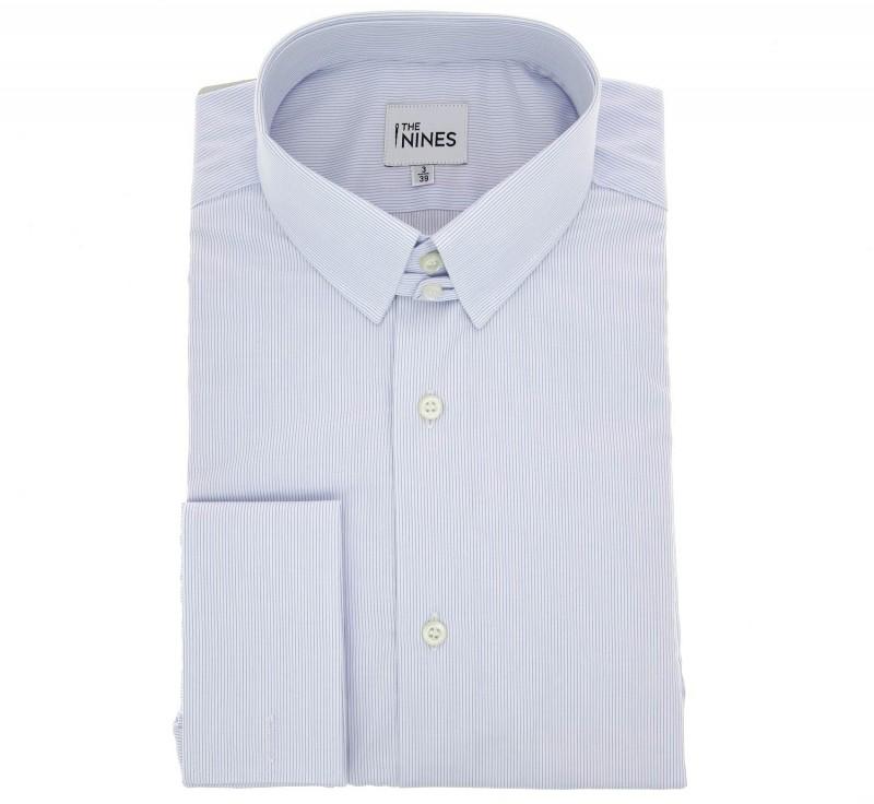 Regular fit white light blue stripe poplin tab collar for Pin collar shirt double cuff