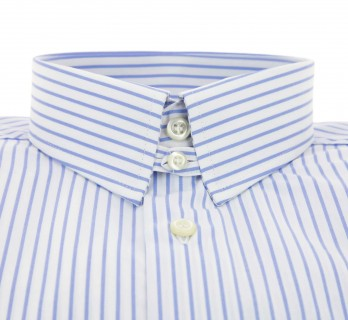 Regular Fit White Light Blue Stripe Two Fold Tab Collar Double Cuff Shirt