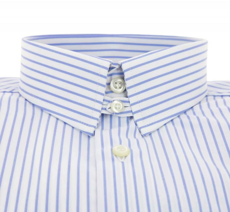 Regular Fit White Light Blue Stripe Two Fold Tab Collar Double ...
