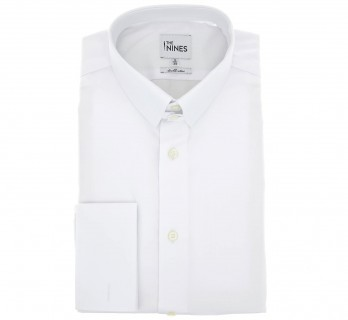 Regular Fit White Two Fold Poplin Tab Collar Shirt