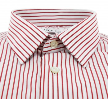 Regular Fit Red White Stripe Two Fold French Collar Button Cuff