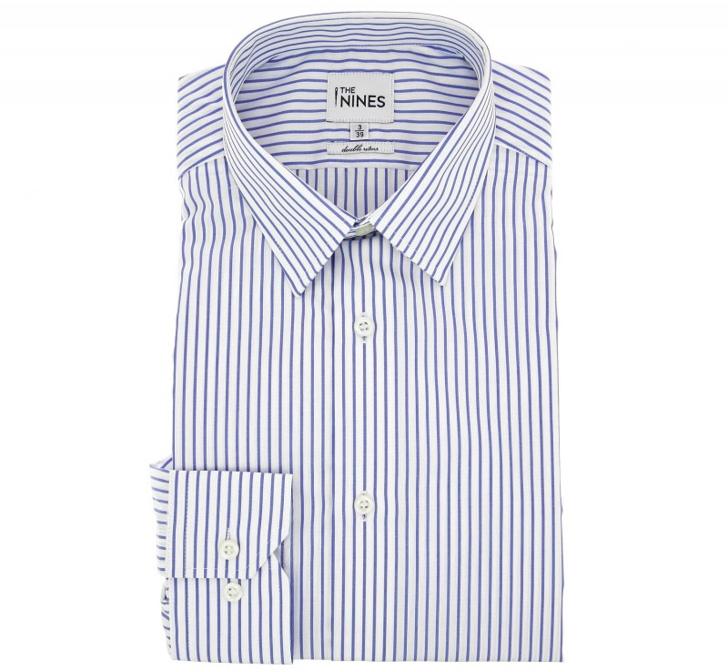 Regular Fit White Blue Stripe Two Fold French Collar Button Cuff Shirt