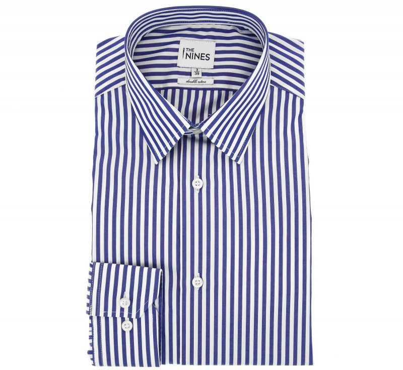Regular Fit Navy White Stripe Two Fold French Collar Button Cuff Shirt