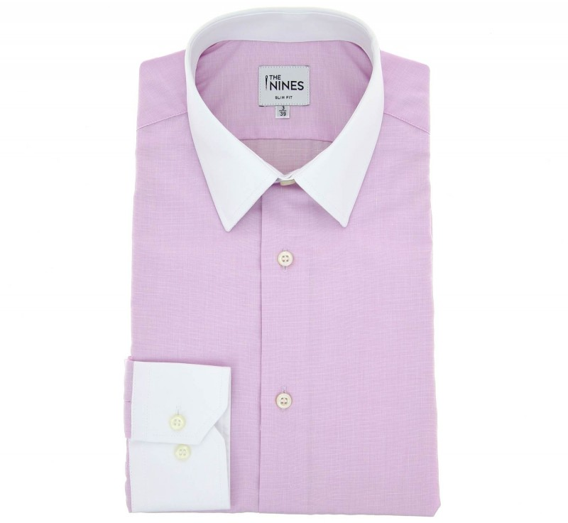 Slim Fit Pink End On End French Collar Button Cuff