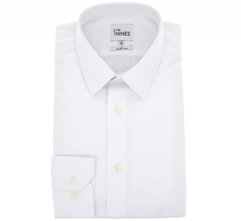 Regular Fit White Poplin French Collar Button Cuff Shirt