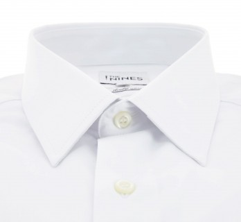 Regular Fit White Poplin French Collar Button Cuff Shirt