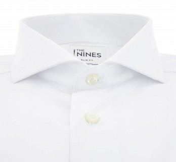 Slim Fit White Poplin Cutaway Collar Double Cuff Shirt