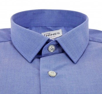 Slim Fit Blue Small Collar Button Cuff