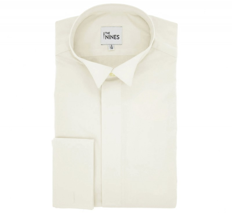 Regular Fit Ivory Poplin Wing Collar Shirt with Hidden Placket for Bow Tie
