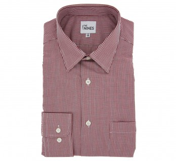Regular Fit Red Check French Collar Button Cuff