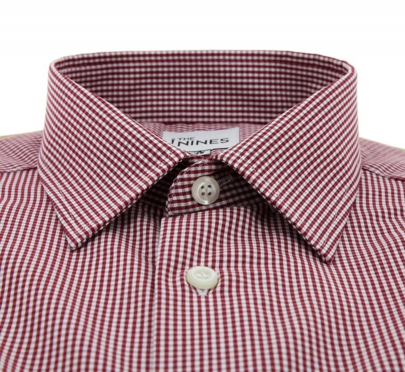 Regular fit red check french collar button cuff double for Pin collar shirt double cuff