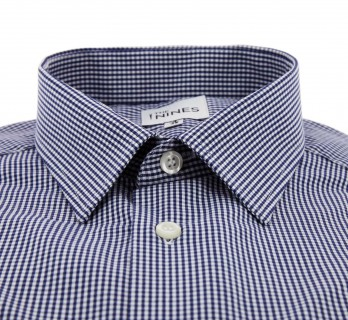 Regular Fit Navy Check French Collar Button Cuff