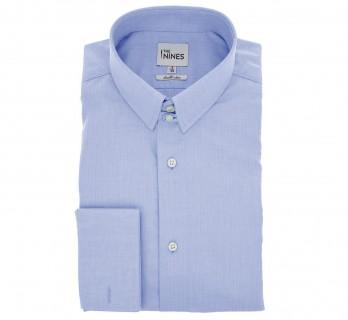 Regular Fit Blue Two Fold Herringbone Tab Collar Double Cuff